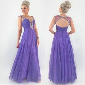 Purple Rhinestone Glam Pageant Prom Dress